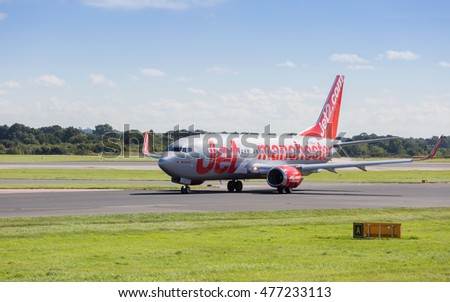 MANCHESTER AIRPORT -  AUGUST 29th 2016: Jet2 737 aircraft taxiing back to the terminal at Manchester Airport, UK August 29th, 2016