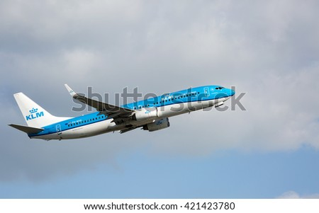 MANCHESTER AIRPORT - MAY 14th 2016: KLM Royal Dutch Airlines Boeing 737 taking off from Manchester Airport, UK May 14, 2016 - stock photo