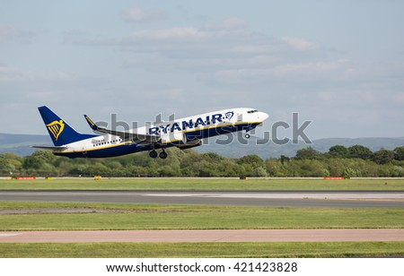 MANCHESTER AIRPORT - MAY 14th 2016: Ryanair Boeing 737 taking off from Manchester Airport, UK May 14, 2016 - stock photo