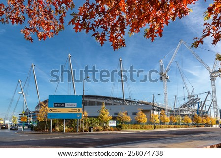 Manchester City Football Stadium, October 17, 2014 - Building of Manchester city football club located in East Manchester. Its expansion is under progress to increase the capacity of the stadium. - stock photo