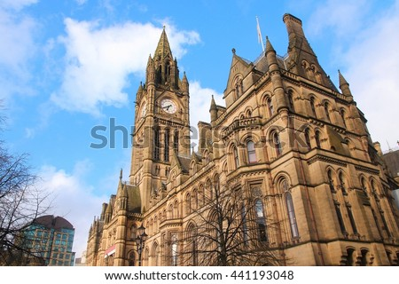 Manchester City Hall - old landmark in North West England (UK). - stock photo