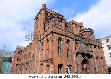 Manchester - city in North West England (UK). Famous John Rylands Library. - stock photo
