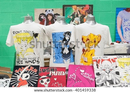 MANCHESTER, ENGLAND - APRIL 2, 2016: T Shirt Stall at the Manchester Anime and Gaming Convention - stock photo