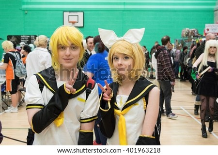 MANCHESTER, ENGLAND - APRIL 2, 2016: Unidentified Cosplayers pose at the Manchester Anime and Gaming Convention - stock photo
