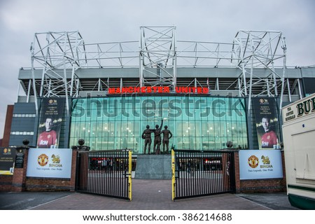 MANCHESTER, ENGLAND - JANUARY 1, 2014 Old Trafford stadium on JANUARY 1, 2014  in Manchester, England. Old Trafford is home of Manchester United football club