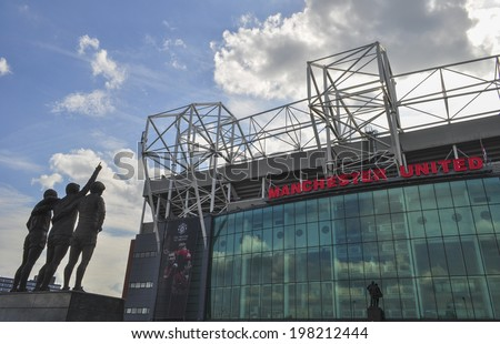 MANCHESTER, ENGLAND - JUNE 2: Old Trafford stadium in Manchester, England. Old Trafford is home of Manchester United football club  on June 2, 2014.