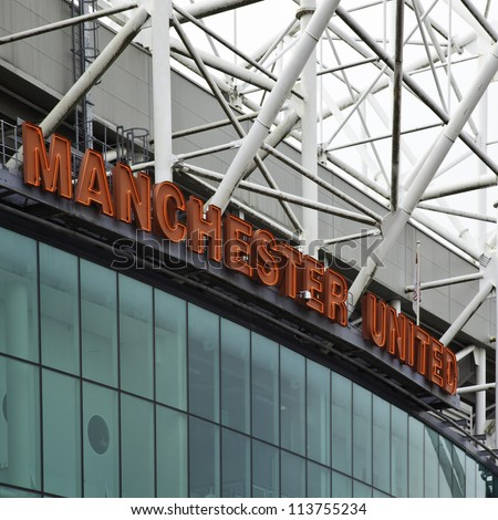 MANCHESTER, ENGLAND - SEPT 3: Old Trafford stadium on September 3rd, 2012 in Manchester, England. Old Trafford is home to Manchester United football club one of the most successful clubs in England