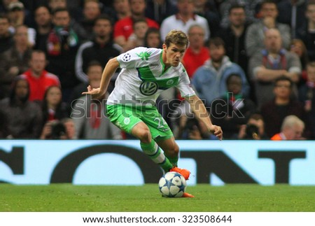 MANCHESTER, ENGLAND - SEPTEMBER 30, 2015: Champions League match between Manchester United and Vfl Wolfsburg at Old Trafford Stadium on September 30, 2015 - stock photo