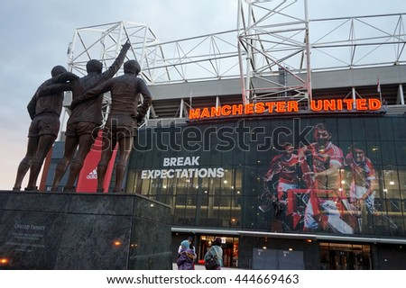 MANCHESTER, ENGLAND - September 19, 2015 : The east stand of Old Trafford football stadium, home of Manchester United. It is the second largest stadium of any English football ground.