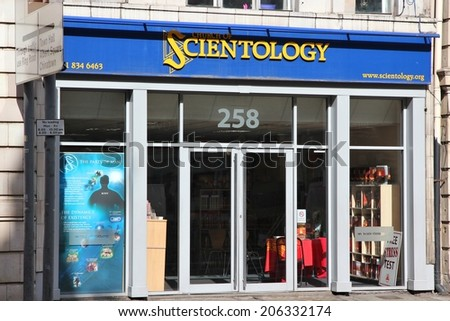 MANCHESTER, UK - APRIL 23, 2013: Church of Scientology in Manchester, UK. Scientology gained publicity through its involvement with celebrities like Tom Cruise and John Travolta.  - stock photo