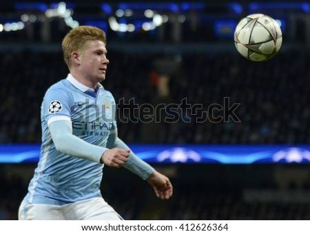 MANCHESTER, UK - APRIL 26, 2016: Kevin De Bruyne of City pictured during UEFA Champions League semi-final game between Manchester City and Real Madrid at Etihad stadium. - stock photo
