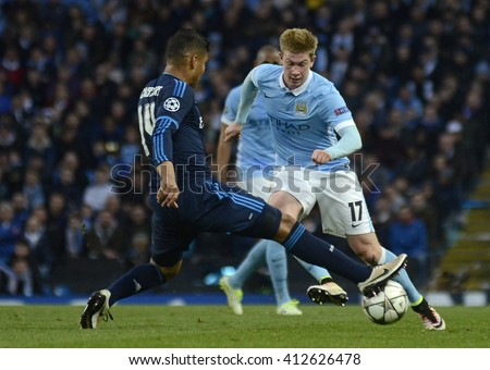 MANCHESTER, UK - APRIL 26, 2016: Kevin De Bruyne pictured during UEFA Champions League semi-final game between Manchester City and Real Madrid at Etihad stadium. - stock photo