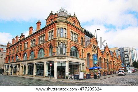MANCHESTER, UK - AUGUST 30, 2016: Commercial building in Manchester's Northern Quarter. The Northern Quarter is an invention of the 1990's as part of the regeneration and gentrification of Manchester.