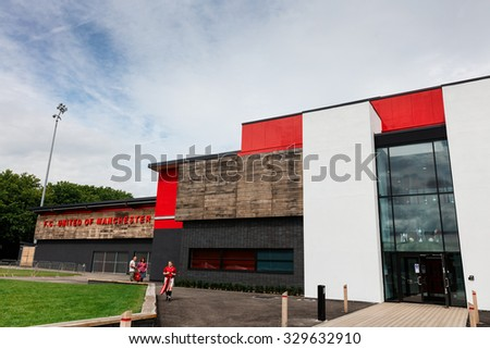 MANCHESTER, UK - AUGUST 9, 2015: FC United of Manchester a community football club was founded in 2005 by disenfranchised supporters of Manchester United. - stock photo