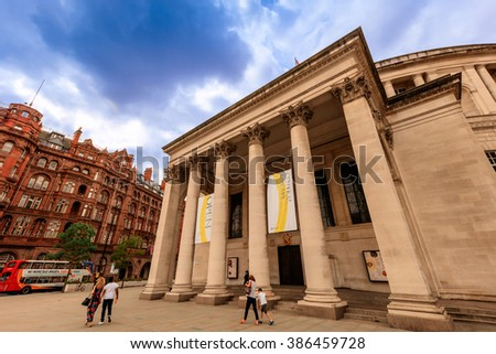 MANCHESTER, UK - AUGUST 9, 2015: Manchester Central Library is the headquarters of the city's library and information service in Manchester, England.  - stock photo