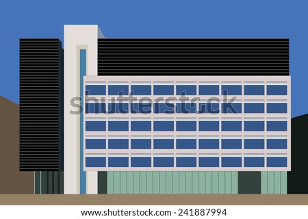 MANCHESTER, UK - JANUARY 2, 2015: Line illustration of a office building on Mosley Street, Manchester, which is the location of several Grade II  listed buildings - stock photo