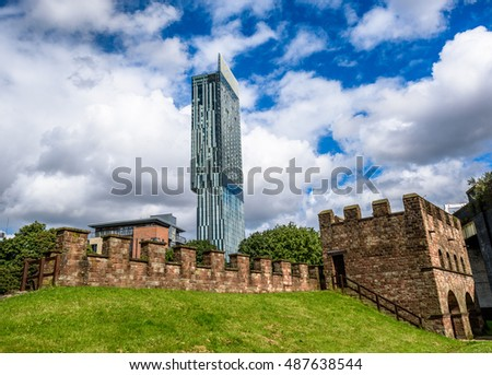 Manchester,Uk - July 13, 2016: Beetham Tower, the tallest building in manchester juxtaposed against Mamucium, the Castlefield Roman fort.