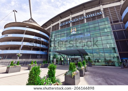 MANCHESTER, UK - JULY 6, 2014: Etihad stadium is home to Manchester City English Premier League football club, one of the most successful clubs in England.