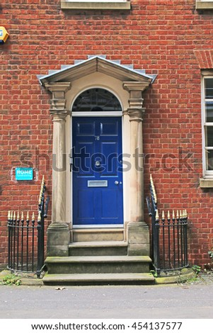 MANCHESTER, UK - JULY 14, 2016: Georgian door. Manchester is a major city and metropolitan borough in Greater Manchester, England,