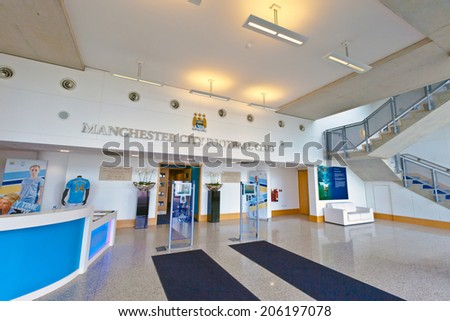 MANCHESTER, UK - JULY 6, 2014: Inside main entrance of Etihad stadium home to Manchester City English Premier League football club, one of the most successful clubs in England. - stock photo