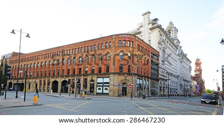 MANCHESTER, UK - JUNE 6, 2015: Oxford Street, Manchester. Manchester City Council hopes that Home will boost the economy by attracting other businesses to this part of the city centre. - stock photo