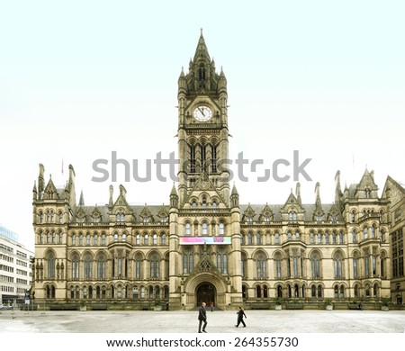 MANCHESTER, UK - MARCH, 25 2015: Albert Square contains a number of monuments and statues, the largest of which is the Albert Memorial, a monument to Prince Albert, Prince consort of Queen Victoria.  - stock photo