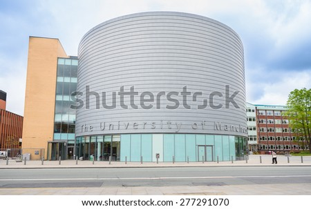 MANCHESTER, UK - May 2015: Manchester University, England, UK, 10 May 2015. The University is a British 'Redbrick' university, a member of the Russell Group and the N8 group. - stock photo