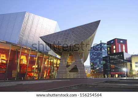 MANCHESTER, UK - SEPTEMBER 2013: View of the Lowry Centre, Manchester, September 29 2013 , England. Future plans aim to spread the success of Salford Quays' regeneration in Irwell River Plan - stock photo