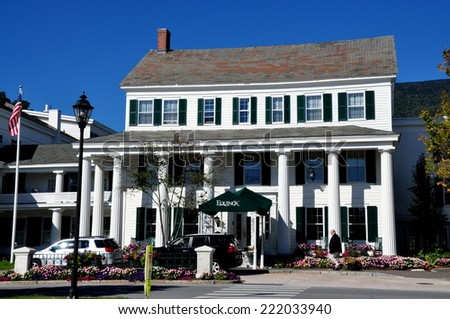 Manchester Village, Vermont - September 19, 2014:  Main entrance to the Greek Revival style luxury Equinox Hotel and Resort which dates to 1769 - stock photo