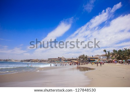 Mancora surfer beach in Peru. - stock photo
