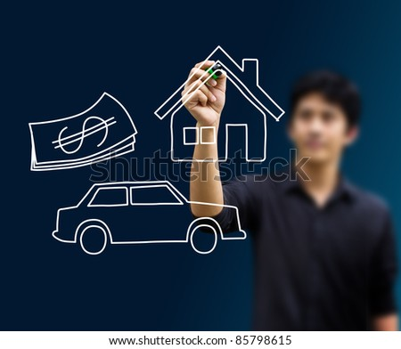 mand drawing home, car and money - stock photo