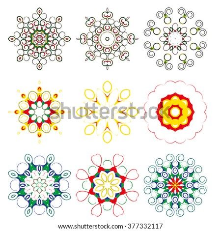 Mandala - circular pattern. A pattern from color spirals for your designs. Spirals and pattern elements of red, blue,  yellow and green color. A set of nine elements.