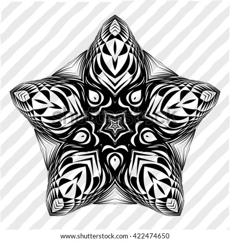 Mandala, circular pattern. A round pattern pattern for your designs. Abstract black and white round pattern.
