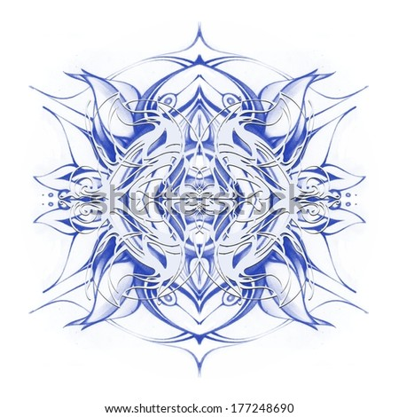 Mandala. Decorative round blue lace pattern, ornament with many overlapping details. Delicate crocheted lace. Oriental motif, modern style. Winter, snowflake, star. Hand drawn graphics - stock photo