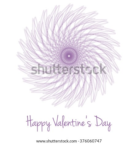 Mandala Extraordinary Flower Card. Purple flower isolated on white