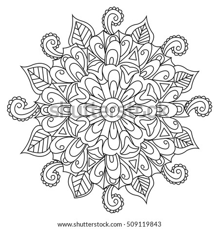 Mandala Flower Coloring Book For Adults Raster Illustration Anti Stress Adult