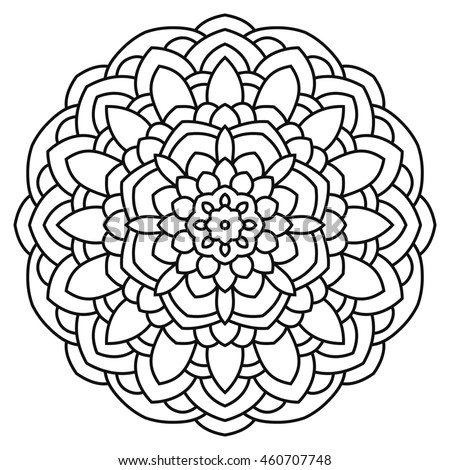 Mandala for painting and coloring. Circular symmetrical pattern in ethnic style.