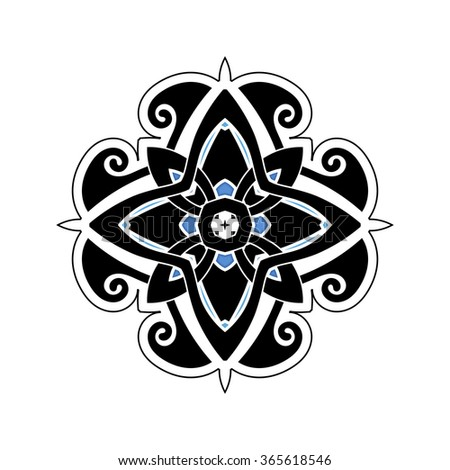 Mandala. Gothic Lace Tattoo. Celtic Weave With Sharp Corners. The Circular  Pattern.