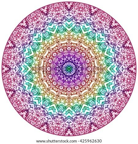 Mandala Mehndi Style. Ethnic seamless pattern in oriental indian style. Mehndi henna design for textile. - stock photo