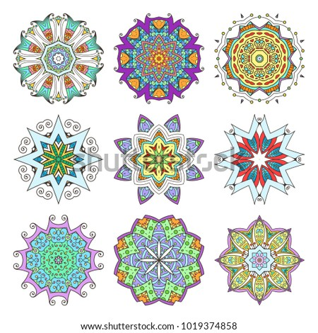 Mandala set. Abstract decorative background. Islam, Arabic, oriental, indian, ottoman, yoga motifs. Raster ornament collection
