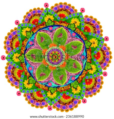 Mandala - spiritual and ritual symbol in  Buddhism,made  from summer flowers. Isolated abstract collage - stock photo