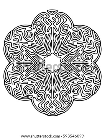Mandala Style Maze For Coloring Book Or Puzzles