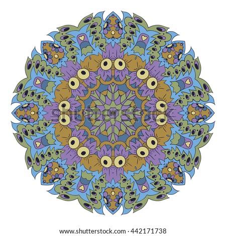 Mandala. Zentangl round ornament. Relax. Meditation. Blue, green and purple - stock photo