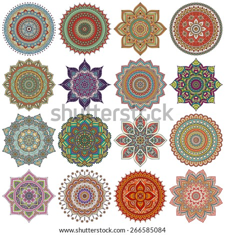 Mandalas collection. Round Ornament Pattern. Vintage decorative elements. Hand drawn background. Islam, Arabic, Indian, ottoman motifs. - stock photo