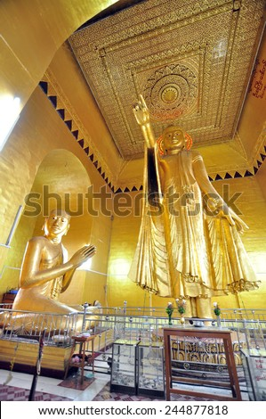 MANDALAY, MYANMAR - CIRCA OCTOBER 2014: Buddha statue located near the top of Mandalay Hill is the favorite panoramic view 360 Mandalay in Myanmar (Burma). - stock photo