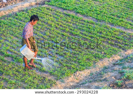 MANDALAY, MYANMAR - DEC 9: Farmer pouring his farm land on Dec 9, 2014 in Mandalay. The major agricultural product is rice, which covers about 60% of the country's total cultivated land area.