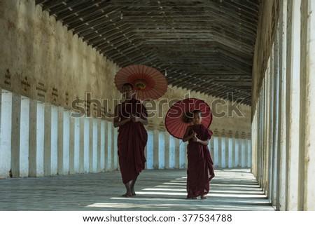 Mandalay,Myanmar-Feb 7,Monk jump inside temple in Bagan Mandalay Myanmar on Feb 7,2016.  - stock photo