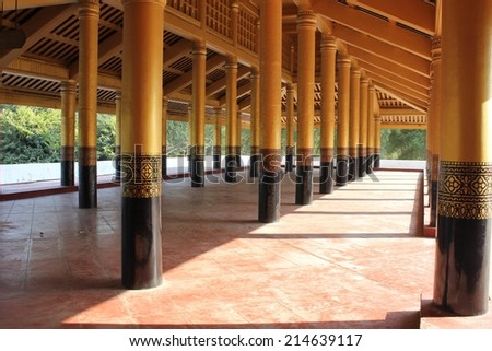 Mandalay, Myanmar, February 28, 2014: The Mandalay Palace, located in Mandalay, is the last royal palace of the last Burmese monarchy.