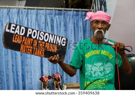 MANDALAY, MYANMAR - JUNE 25 2015: Moutache brother Lu Maw, perform a politically sensitive comedy show which has gaine recognition Mandalay, Myanmar. - stock photo