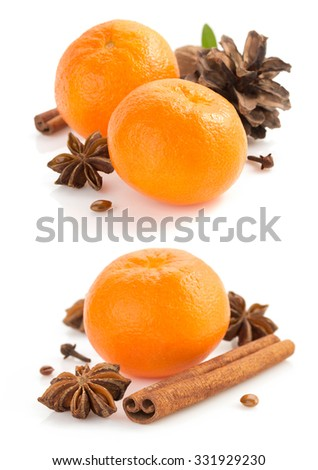 mandarin and spices isolated on white background - stock photo
